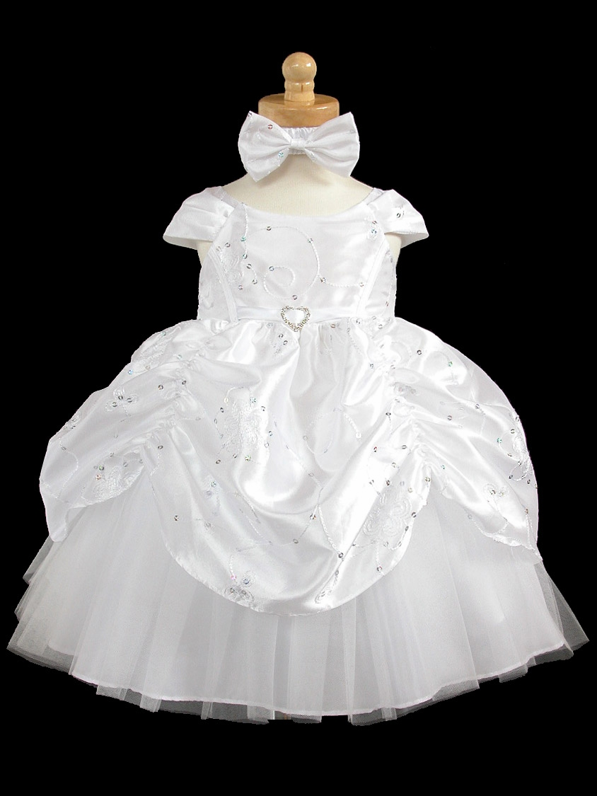 white taffeta embroidered cinderella baby dress