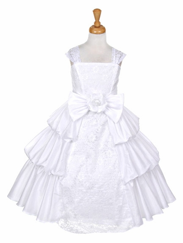 White Taffeta Layered Dress w/ Lace