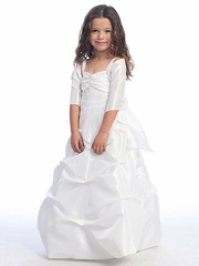 White Taffeta Long Bubble First Communion Dress