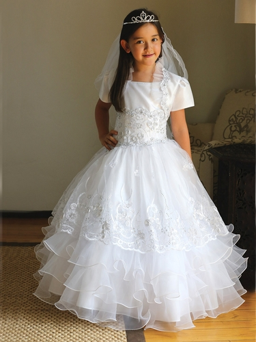 White Taffeta Organza Communion Dress w/ Matching Bolero