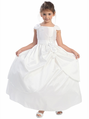 White Taffeta Two Layer Skirt w/ Flowers Dress