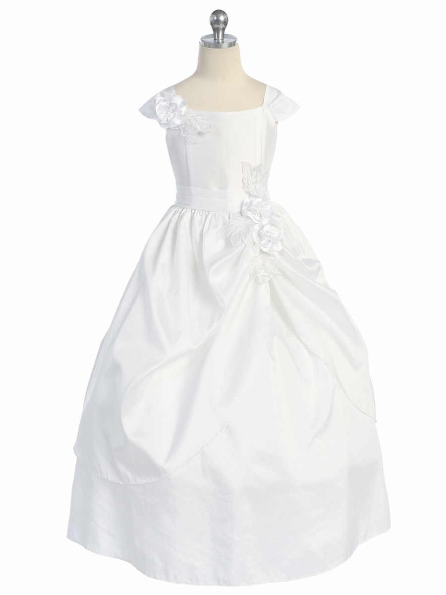 White Taffeta Two Layer Skirt W Flowers Dress
