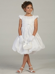 White Taffeta Two Layer w/ Flower Gather Dress