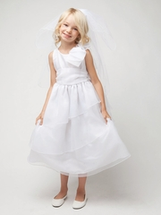 CLEARANCE - White Tiered Organza Dress