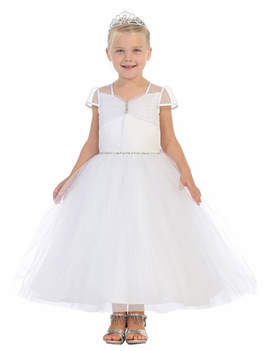 White Tulle Ball Gown w/ Cap Sleeve & Rhinestone Detailing
