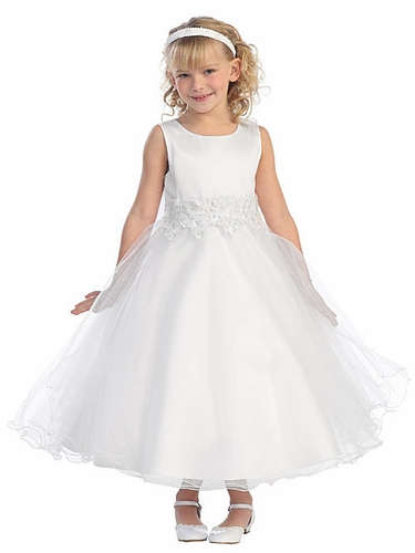 White Tulle Dress w/ Flower Embellishment Waistline