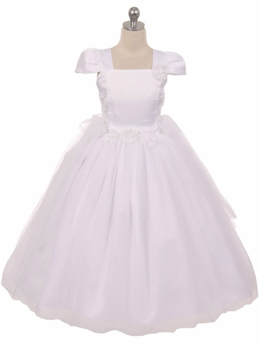 White Tulle Overlay Princess Dress