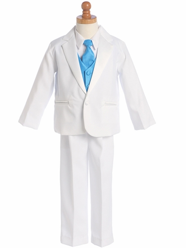 White Tuxedo w/ Any Color Vest & Clip-On Necktie