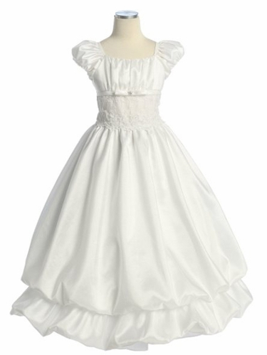 White Two Layer Bubble First Communion Dress
