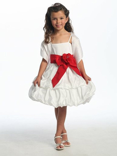White Two Layer Bubble Taffeta Dress w/Sash & Flower