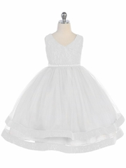 White V-Neck Lace Detailed Tulle Dress w/ Pearl Waistband
