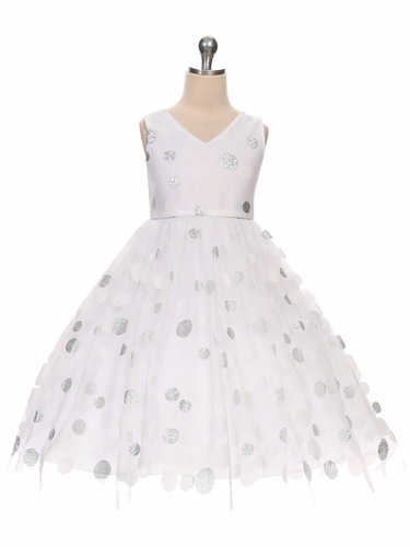 White V-Neck Polka Dot Tulle Overlay Dress