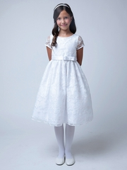 White Vintage Bouquet Embroidered Organza Dress