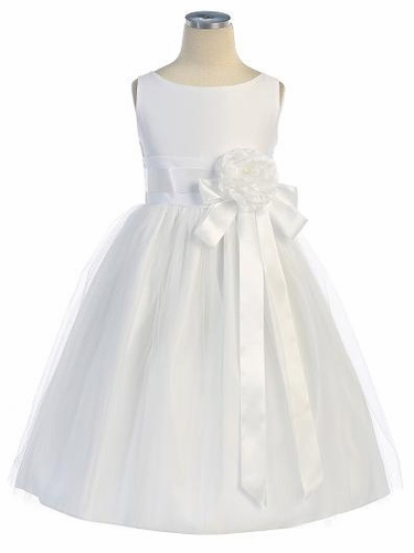 White Vintage Satin Tulle Dress