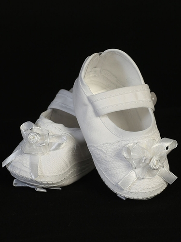White Cotton Girls Christening Botties w/ Lace