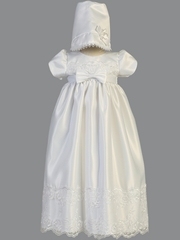 White White Satin Christening Gown w/ Embroidered Lace