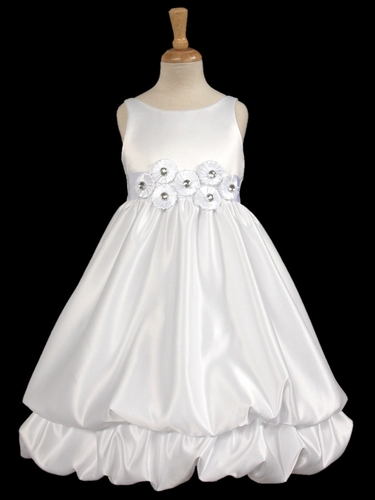 White/White Two Layer Bubble Dress w/Decorative Sash