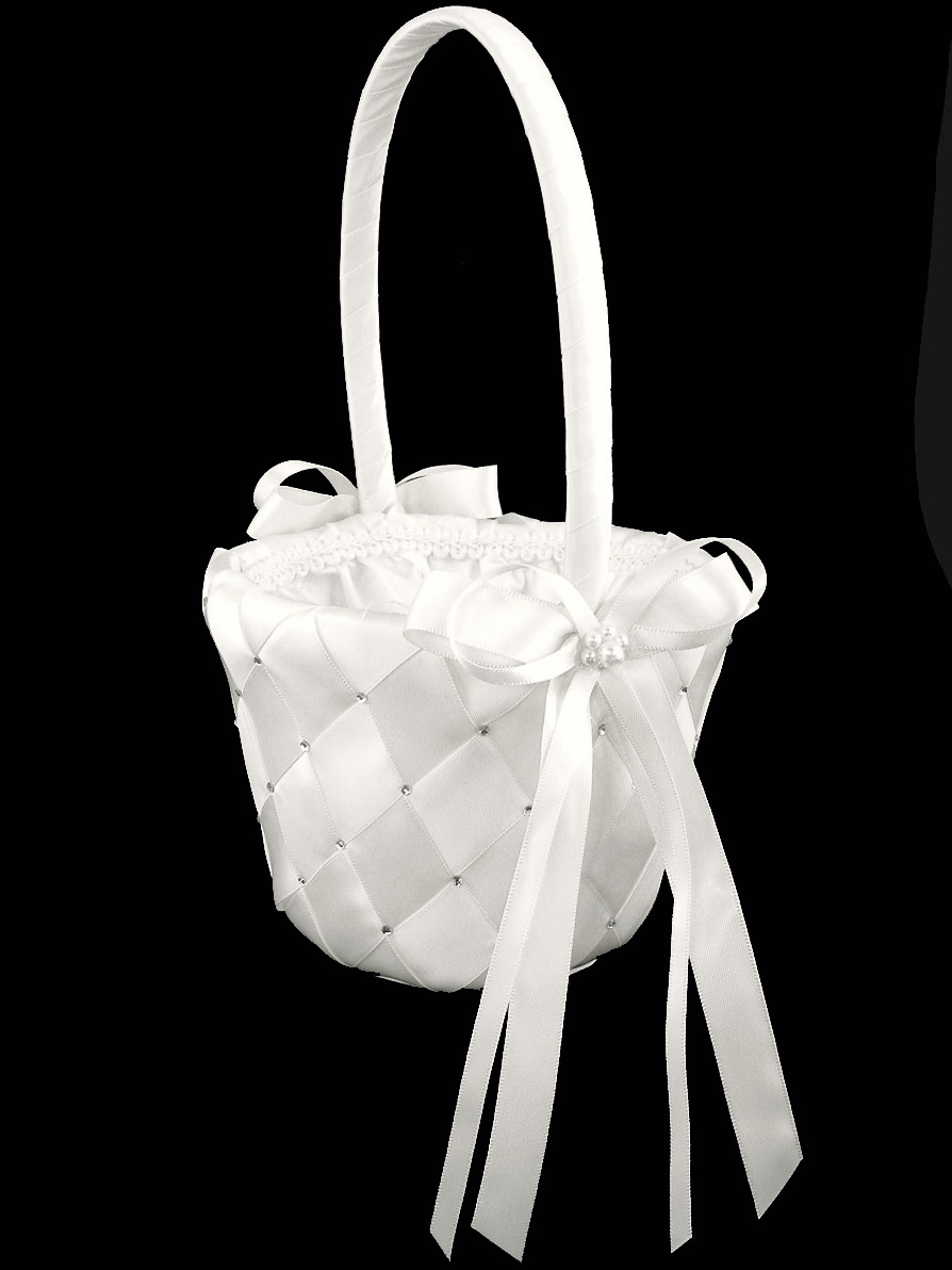 White Woven Fabric Wembroidered Rhinestone Flower Girl Basket