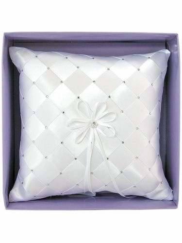 White Woven Fabric w/Embroidered Rhinestone Ring Bearer Pillow