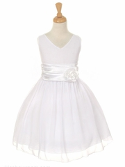 CLEARANCE - White Yoryu Chiffon Double V-Neck Dress