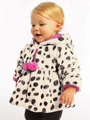 Widgeon French Hooded Pom Pom Dot Coat