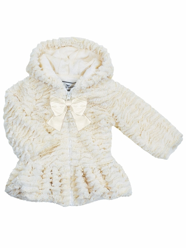 Widgeon Natural Cream Hooded Big Bow Coat