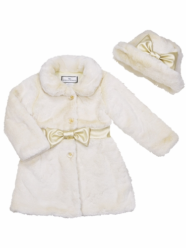 Widgeon Vanilla Cream Fur Belted Coat w/ Hat Set