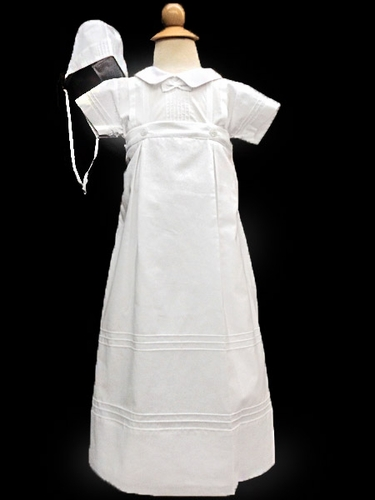 Will'beth Boys Christening Pleated Romper w/ Removable Gown