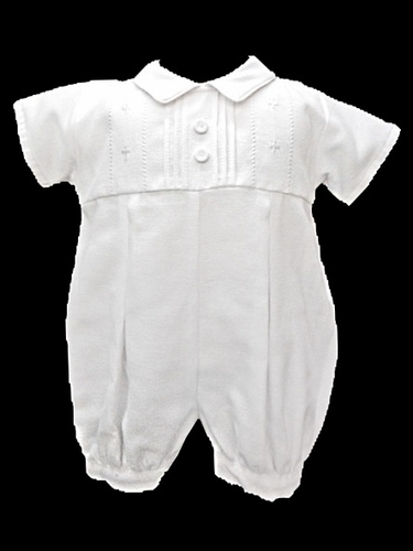 Will'beth Boys White Christening Romper