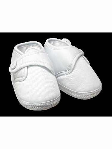 Will'beth Boys White Cotton Christening Shoes