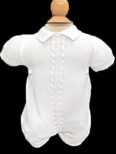 Will'beth Boys White Knit Romper