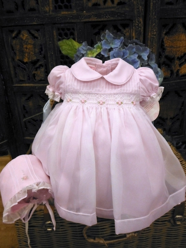 Will'beth Precious Pink & White Dress w/ Bonnet