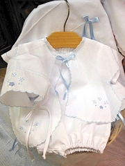 Will'beth White & Blue 5 PC Sweet Baby Short Sleeve Set