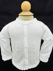 CLEARANCE - Will'beth Infant Girls White Cardigan Sweater