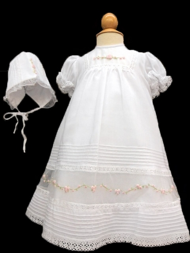 Will'beth White & Pink Embroidered Gown w/ Bonnet