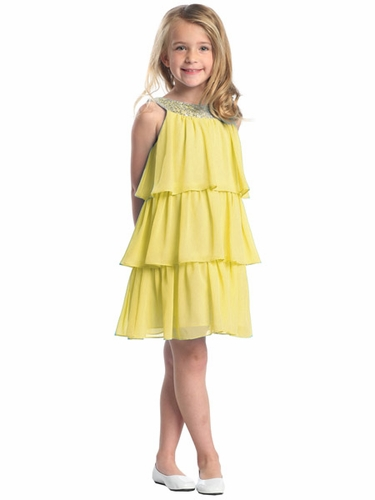 Yellow 3-Tier Chiffon Sequins Dress