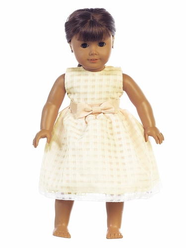 "Yellow Basket Burnout Organza 18"" Doll Dress"