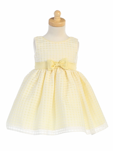Yellow Basket Burnout Organza Girls Dress