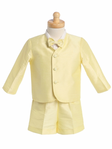 Yellow Boys Poly Silk Eton Jacket & Shorts