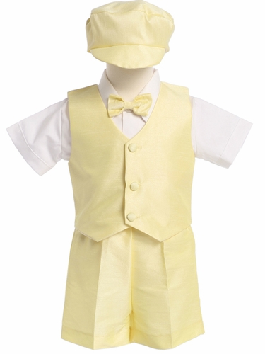 Yellow Boys Poly Silk Vest & Shorts w/Hat
