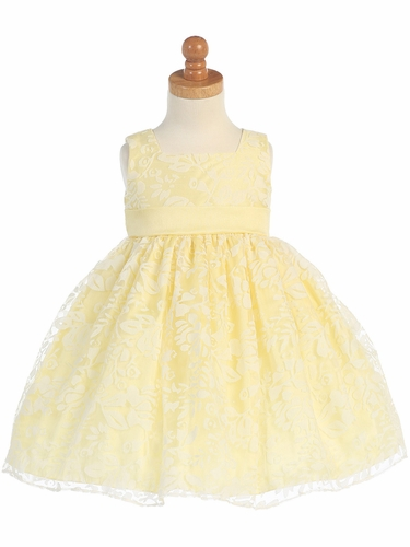 Yellow Spring Burnout Organza Dress