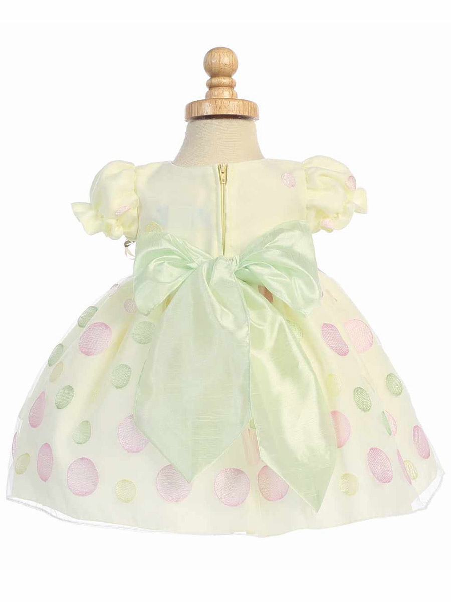 Mint 7pcs Unicorn Conical Gradient Color Makeup Brushes: Yellow Cap Sleeved Organza Dress W/ Polka Dot Embroidery