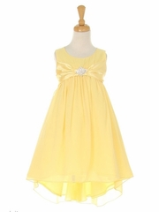 Yellow Chiffon High Low Dress