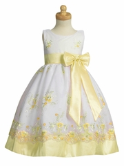 Yellow Embroidered Organza Dress w/ Taffeta Waistband & Bow