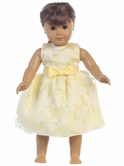 "Yellow Floral Burnout Organza 18"" Doll Dress"