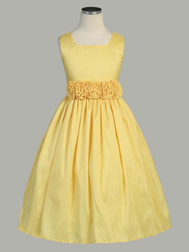 Yellow Flower Girl Dress - Taffeta Dress w/ Flower Cummerbund