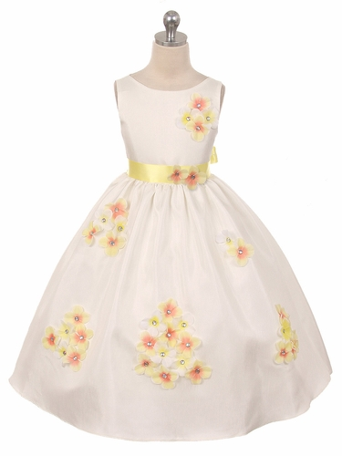 Yellow Flower Petal Shantung Dress