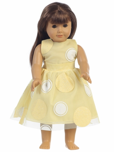 "Yellow Glittered Polka Dot Tulle 18"" Doll Dress"