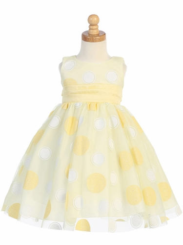 Yellow Glittered Polka Dot Tulle Dress