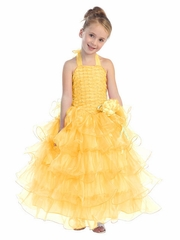 Yellow Halter Dress with Ruffle Layers & Flower